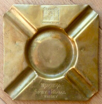 Rare orig old 1900s Spey Royal Whisky brass ashtray, breweriana, pubs, Scotch