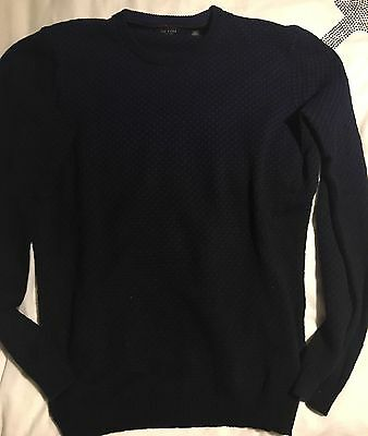Mens Ted Baker Knitted Crew Neck Two Tone Jumper Black/blue Extra Large
