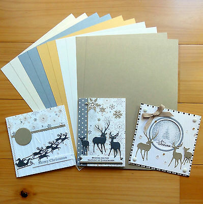PREMIUM BLANK MIXED COLOURS METALLIC SHIMMER CARDSTOCK A4 x 10 SHTS - NEW