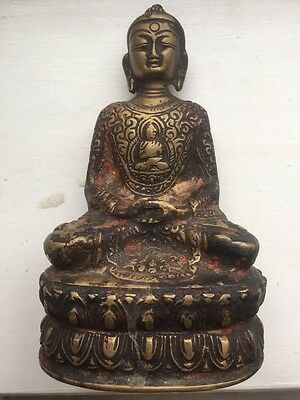 offer RARE BRONZE ANTIQUE BUDDHA BHAISAJYAGURU CHINESE / TIBETAN MEDICINE TEMPLE