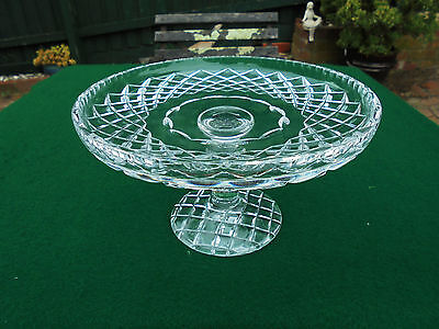 Vintage Hand Cut Crystal Cake Stand Diamond Pattern