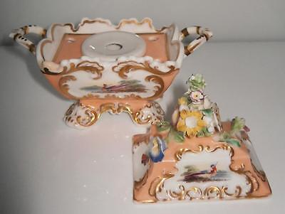 Superbly Rare Antique Derby Hand Painted Sarcophagus Inkwell Encrier c1830