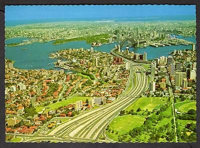 """""""SYDNEY, AERIAL VIEW OF THE NORTHERN APPROACH"""" Postcard Australia"""