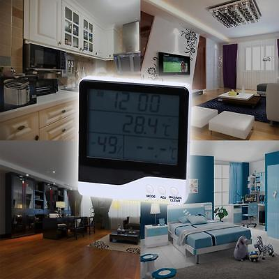 In/Outdoor Hygrometer Humidity Thermometer Alarm Clock LCD Display Calendar Gift