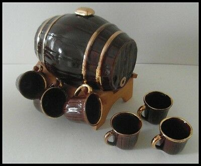 Vintage Ceramic Barrel Decanter On Wooden Stand With 6 Small Cups. Foreign.