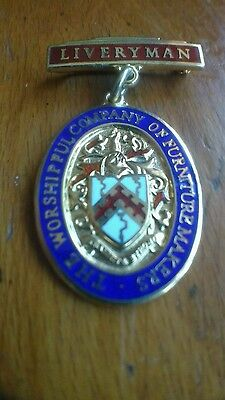 Worshipful Company of Furniture Makers Silver Gilt Enamelled Fob Medallion