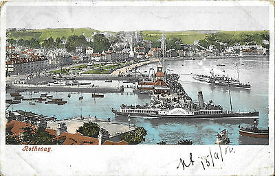 RP Card ROTHESAY showing The Pier and Paddle Steamers - Posted 1904