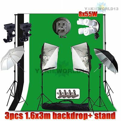 2200W Photo Studio Softbox Lighting Flash Umbrella Light 3x Backdrop Stand Kit