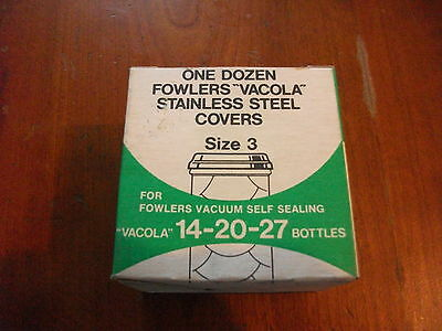 Fowler's fowlers vacola 3 inch S/S lids in new old pack collectible Preserving