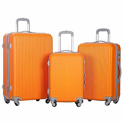 Merax Newest 3 Piece Luggage Suitcase Spinner Set ABS Material Orange