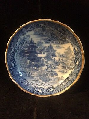 Antique Chinese Blue And White Saucer