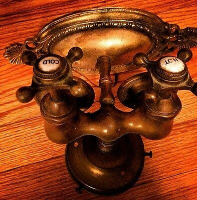 Unusual Steampunk Antique Brass Bathroom Light Fixture Lamp Water Tap RARE