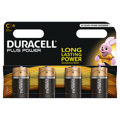 4x Duracell Plus Power  C Baby 1,5V LR14 MN1400 E93 R14 AM2 UM2 ½ Torcia
