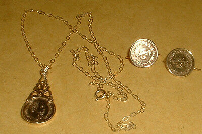 Hallmarked 9Ct Gold Ladies Necklace And Earring Set With Mexico Peso Coins