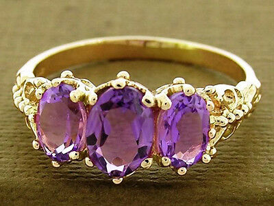 R225 Solid 9K Yellow Gold NATURAL Amethyst Trilogy Three-stone Ring size N