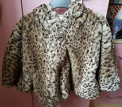 Next hooded faux fur leopatd print cape/poncho coat 3-4 years