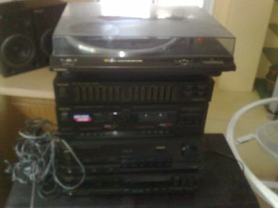 Vintage Stereo System Technics With Turntable And Speakers  Excellent Condition