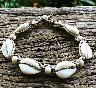 Hand Made Hemp Macrame Anklet with Cowrie Shells & Timber Beads, Bohemian