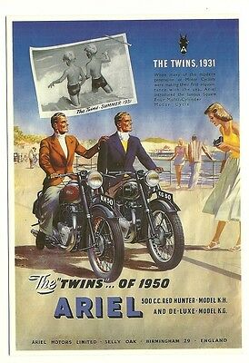 Ariel Motor Cycle - an advert reproduced on a modern postcard