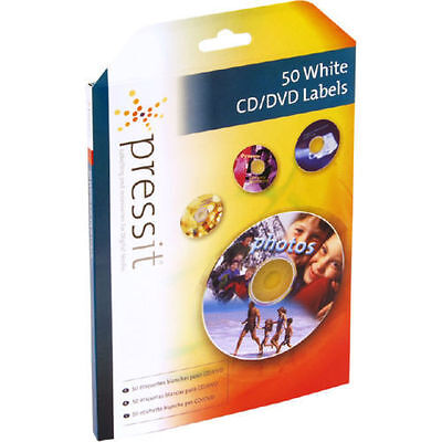 PLAB01101 Pressit White DVD/CD, 2 LABELS/SHEET (25 SHEETS/PACK)
