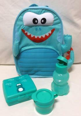 NEW TUPPERWARE DINO DINOSAUR SET DAY PACK includes sandwich square, bottle, bag