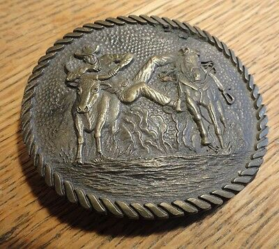 Vintage Western ADM Solid Brass Belt Buckle - Steer Roping Team