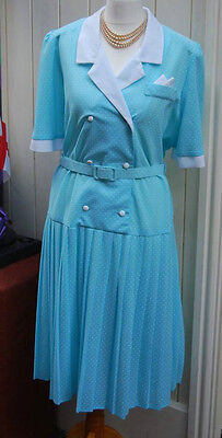 Vintage Blue Polka Dot Dress Size 18 Retro Rockabilly 50's Style