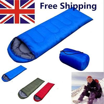 100 X Waterproof Adult 3 Season Camping Hiking Portable Envelope Sleeping Bag UK
