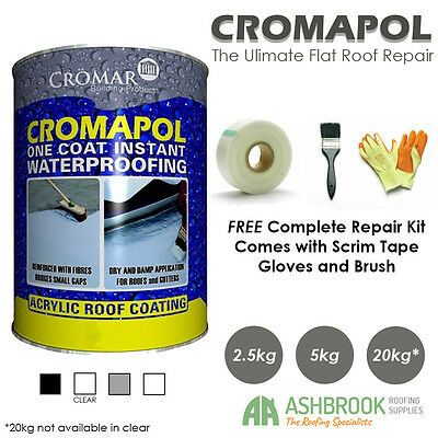 Cromapol Acrylic Roof Coat | Roof Paint Sealant | FREE Roof Repair Kit | 3 Sizes
