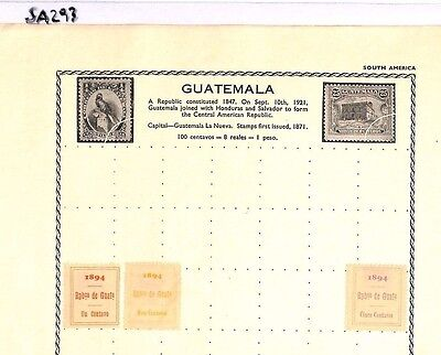 SA293 GUATEMALA Original album page from old-time collection