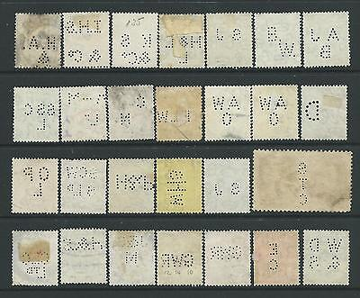 Collection of good used GV stamps with PERFINS.