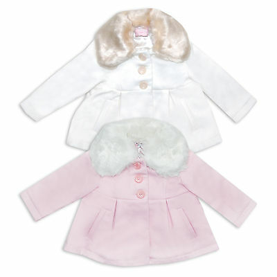 Chloe Louise Baby Girls Toddler Faux Fur Collar Wool Winter Coat Pink Cream • EUR 25,24
