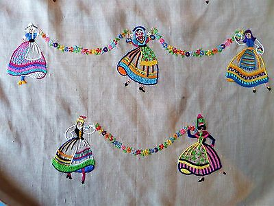 Beautiful Vintage Present Hand Embroidered Floral Linen Lady Apron Pinny