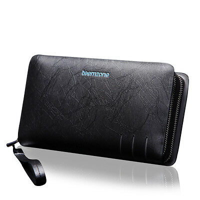Hot Fashion Trend Real Leather Men Wrist Clutch Handbag Brown Wallet Checkbook