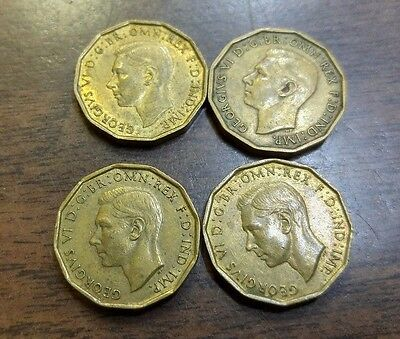 Lot of 4 Great Britain Three Pence WWII 1941-1944 160943