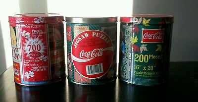 Vintage 3 Coca Cola Jigsaw puzzles in tin. NEW