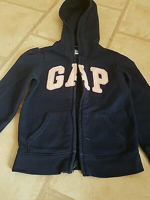 Girls navy hooded zip up jumper jacket. From Gap. Age 5