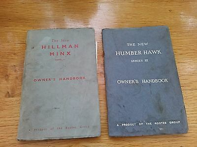 HILLMAN MINX series II and humber Hawk series III, Owners Handbooks