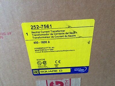 NEW Square D 252-7561 400-1600A Neutral Current Transformer S34036