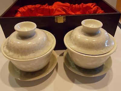 SET Antique Chinese Japanese White CRYSTALLINE Rice BOWL Tea Service for 2 w Lid