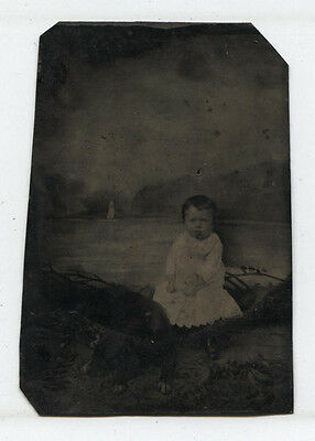 Tintype Little Girl With Dog. Creepy Painted Background.