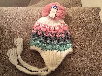Bnwt Girls Pink  Candy Knit Bobble Hat Age 7-10 Years