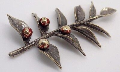 Vintage Solid Silver Christmas Mistletoe Miniature - Dollhouse - Made in Italy