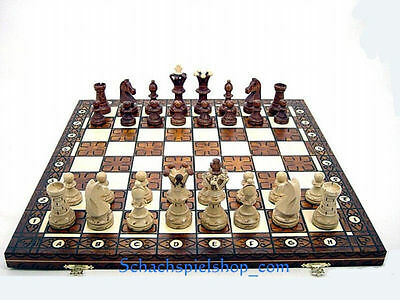 LARGE WOODEN CHESS SET HANDCRAFTED  w/ BOARD 54x54 TOP HOLZ SCHACH
