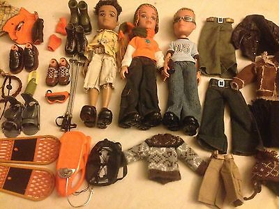 "Bratz Boyz Bundle. 3 X 10"" Dolls And Lots Of Extras! VGC. *REDUCED!*"