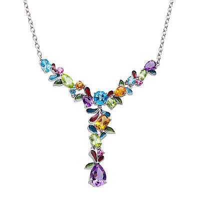 7 1/2 ct Natural Multi-Stone Garland Necklace in Sterling Silver