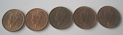 5 Mauritius 1 cent coins 1952 King George VI ,U.N.C. but coins have issues.