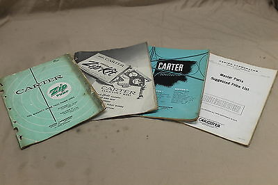 4 1959 1960 Carter Carburator Parts & Price List Cataloge Vintage Automobile Car
