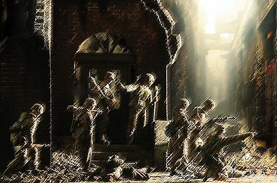 Waffen Ss Fighting In Budapest Hungary Military Art Diorama Print Signed!!