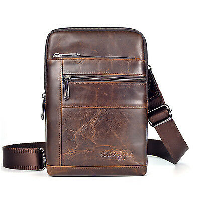 Men leather First layer Cowhide Cross Body Messenger Shoulder Sling Chest Bag